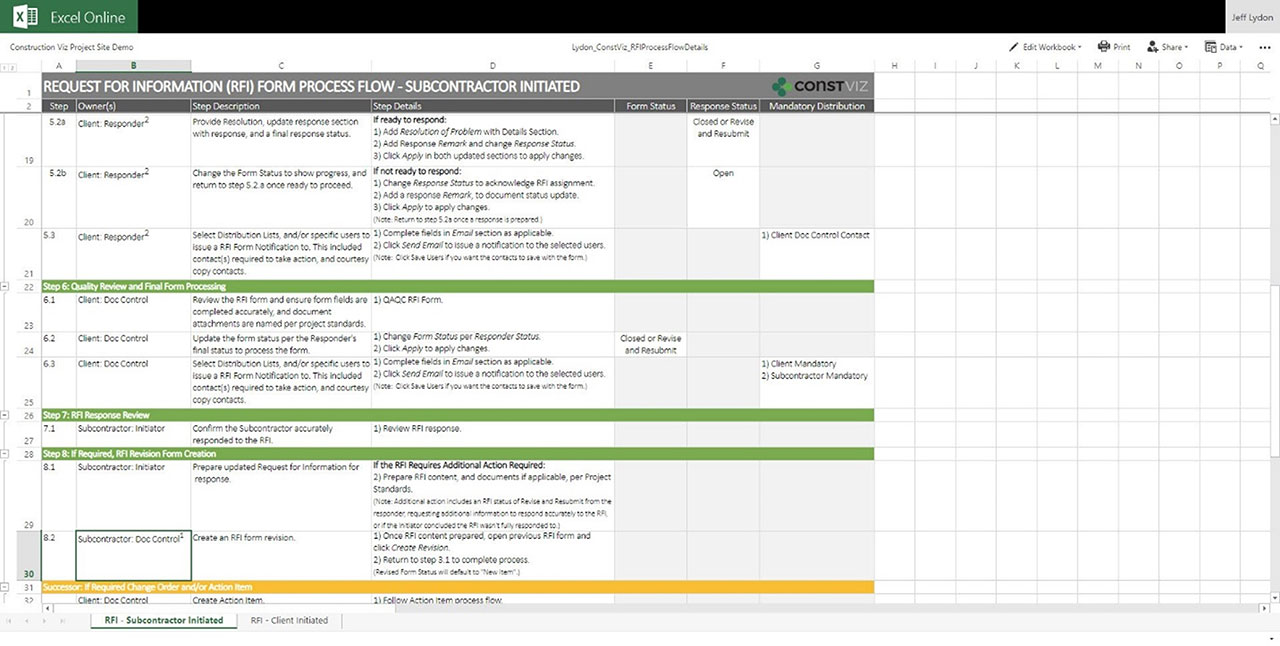 Steps for workflow in Excel Online